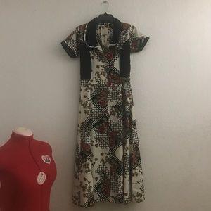 50s Pin Up retro Maxi Dress
